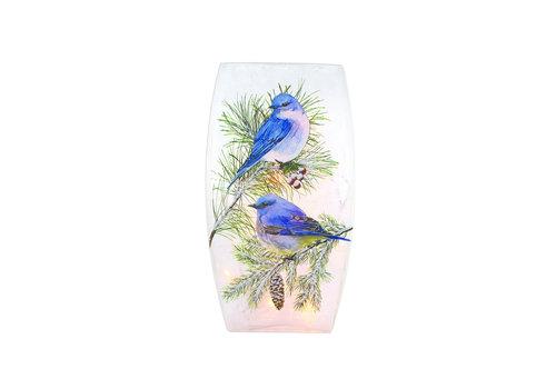 Stony Creek Winter Bluebird Pre-Lit Medium Vase