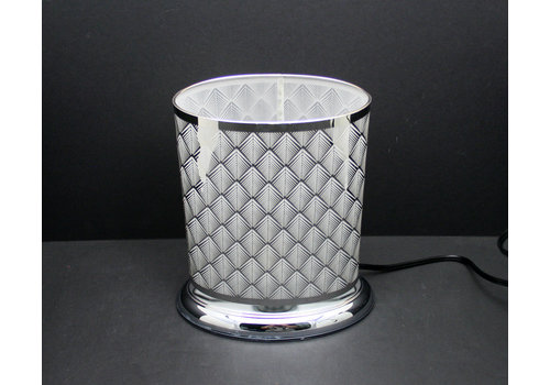 "Silver Scales Oval Shape Touch Sensor Lamp 8.5""x10"""