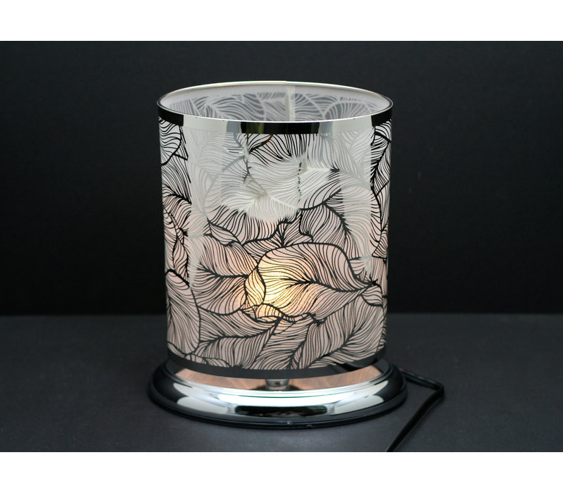 """Silver Feather Oval Shape Touch Sensor Lamp 8.5""""x10"""""""
