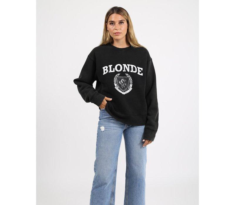 Blonde Distressed Varsity Step Sister