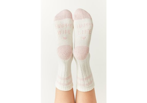 Z Supply Happy Wife Rib Socks Pearl White O/S