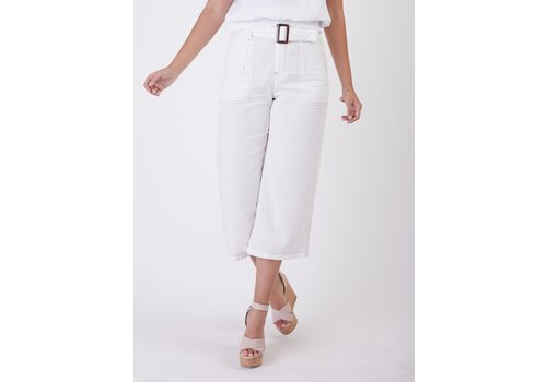 Black Tape Cropped Belted Denim Twill Pant