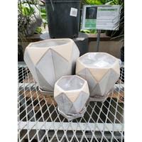 Hexagon White Stoneware Pot With Saucer
