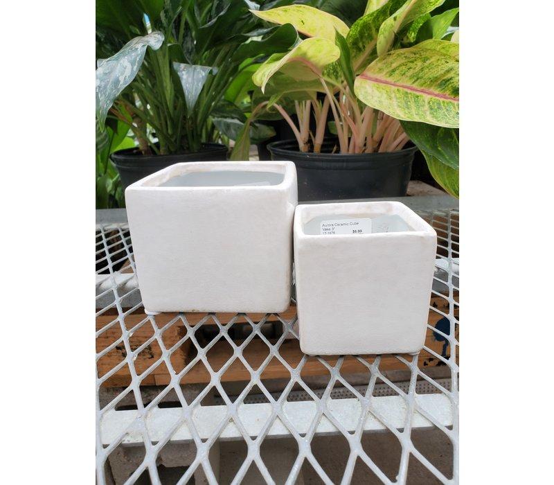 Aurora Ceramic Cube Vase