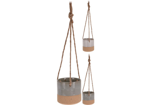 Ceramic Pot With Rope Hanger