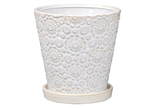 Pin Wheel Flare Pot With Saucer