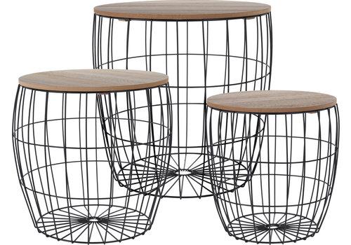 Koopman International Side Table Black Wire With Wooden Top