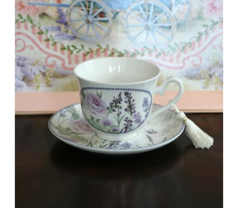 Purple Lavender Tea Cup & Saucer Set In Gift Box