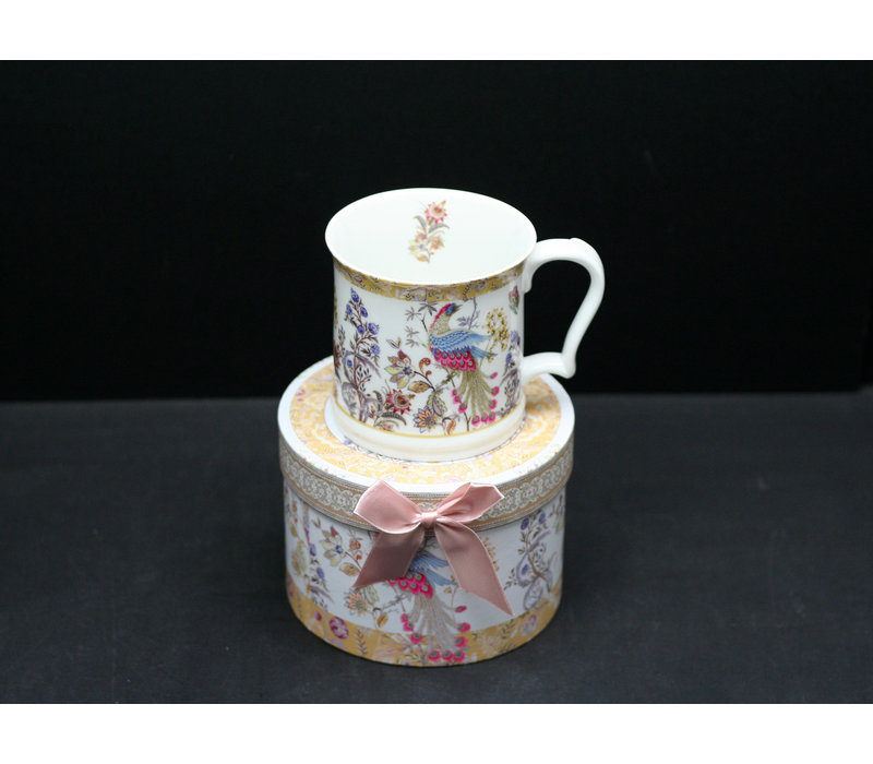 Peacock With Butterfly New Bone China Mug With Gift Box