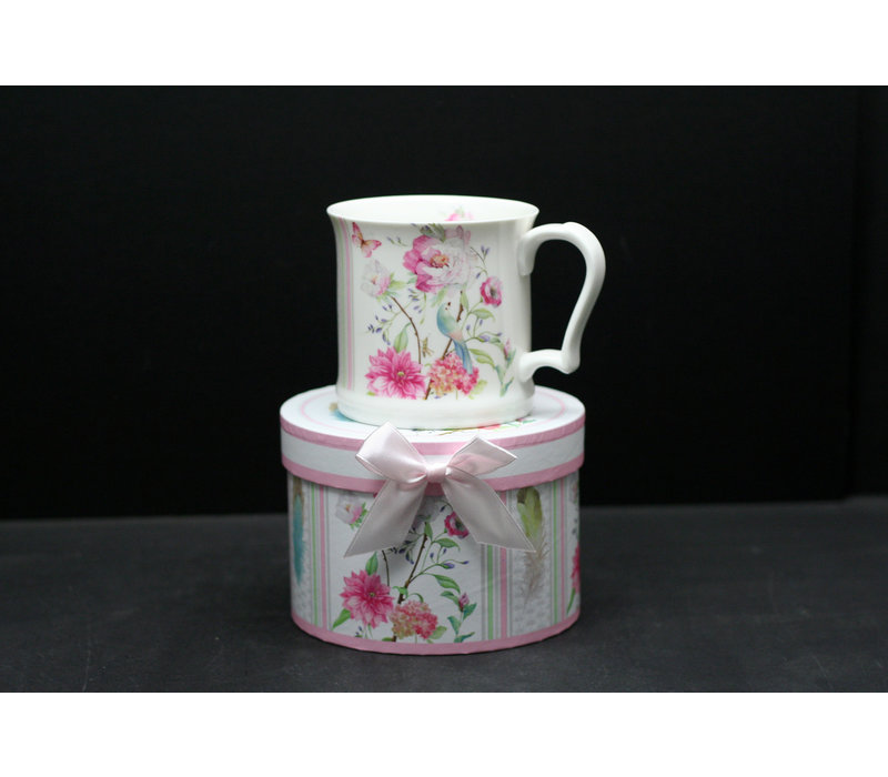 Bird With Flowers New Bone China Mug With Gift Box