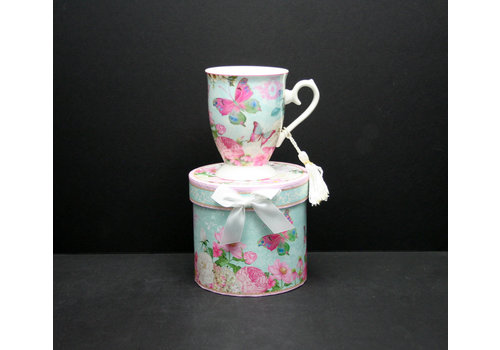 Pink Butterfly Royal Mug In Gift Box
