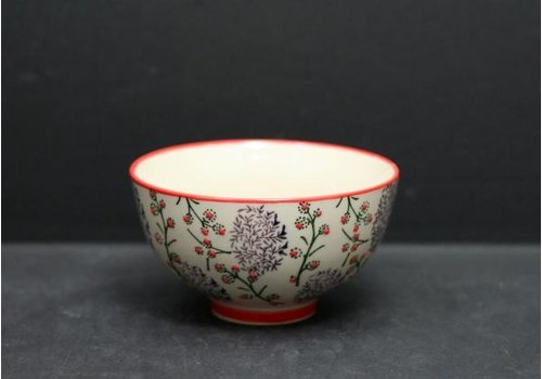 Red Rim and Purple Pattern Bowl 4.5""