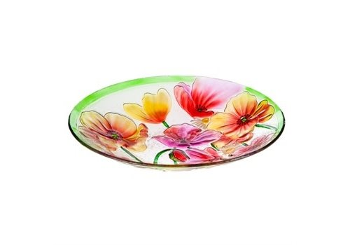 Evergreen Poppies Glass Birdbath 18""