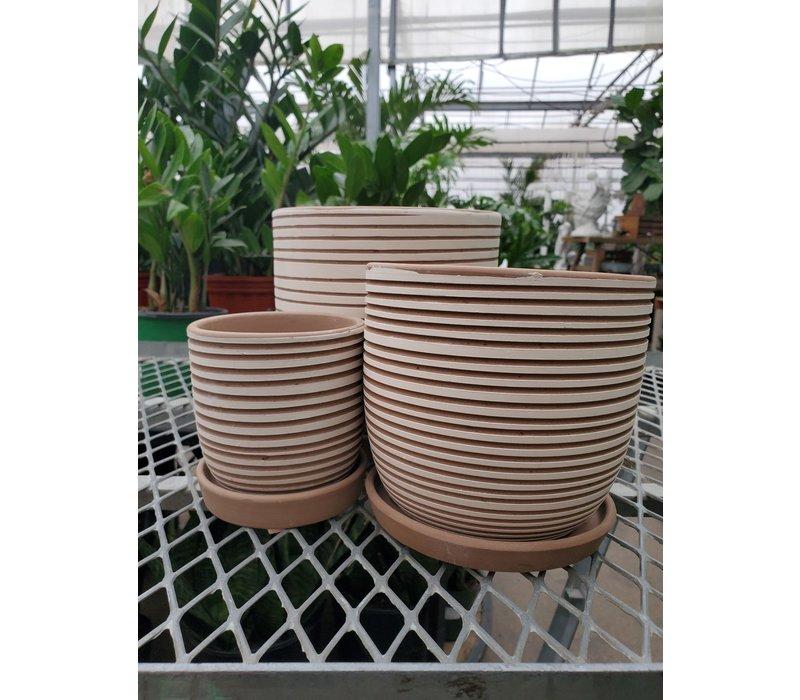 Hallie Swirl Planter With Saucer