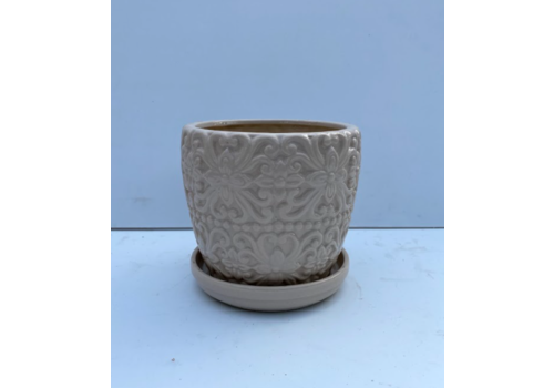 Carved Floral Planter With Saucer