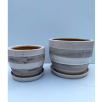 Distressed Cup Pot With Saucer