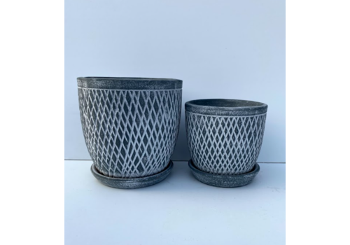 Border Concepts Crosshatch Egg Pot With Saucer