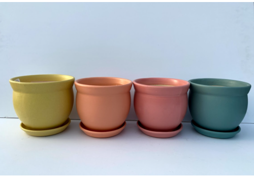 Flared Rim Planter With Saucer