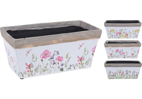 Floral Design Rectangle Pot