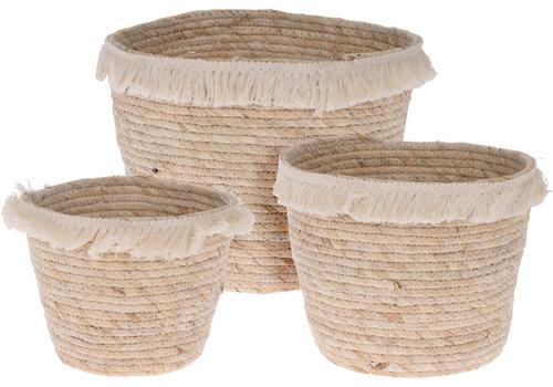 Fringe Straw Basket