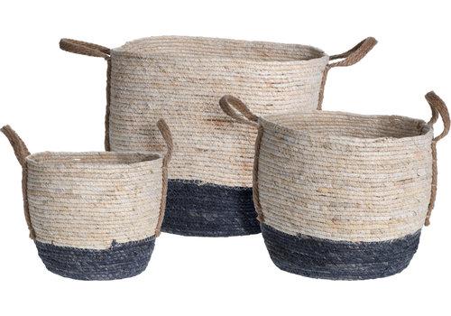 Straw Basket Round White and Blue