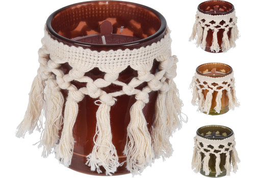 Koopman International Scented Wax In Glass With Macrame