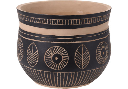 Flower Pot Black and Clay