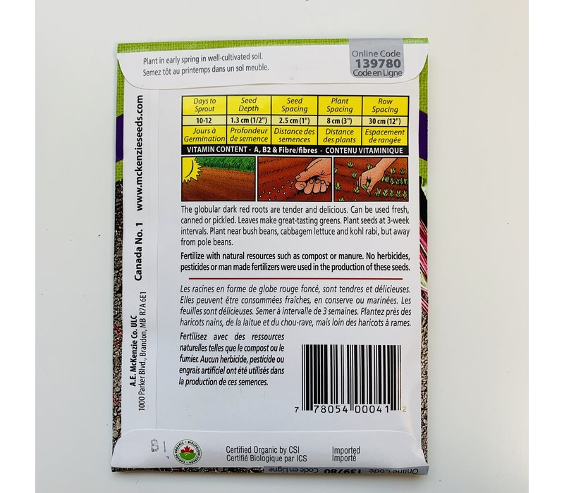 Beet Early Wonder Tall Top Organic