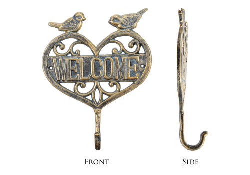 "Welcome Heart Cast Iron Wall Hook 10""x8"""