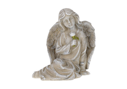Stone Look Sitting Angel 4.5""