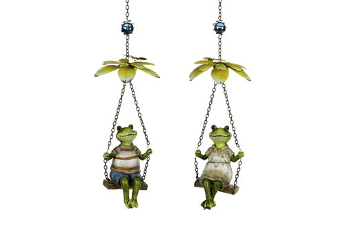 Frog On Swing Hanging Decor
