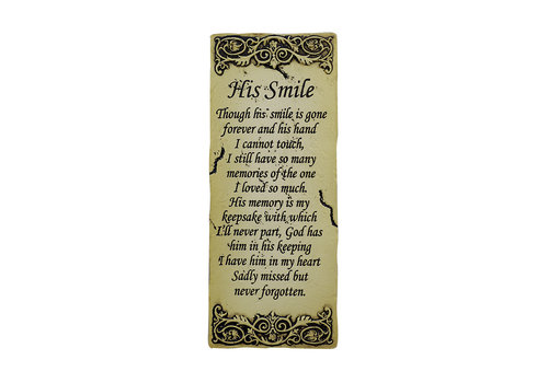 His Smile Memorial Plaque 8.5""