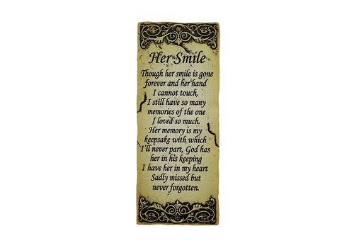 Her Smile Memorial Plaque 8.5""