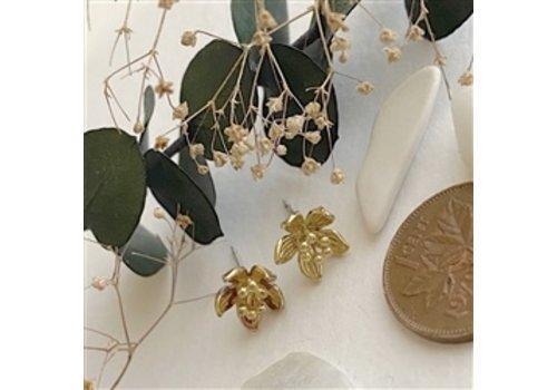 Pika & Bear Nymphae Raw Brass Water Lily Stud Earrings