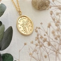 Demeter Floral Stamped Charm Necklace Gold
