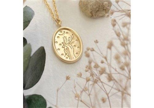Pika & Bear Demeter Floral Stamped Charm Necklace Gold
