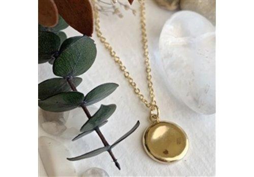 Pika & Bear Concave Medallion Charm Necklace Gold
