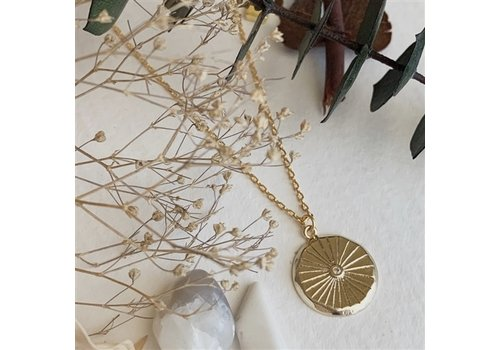 Pika & Bear Atum Round Charm With Rhinestone Necklace