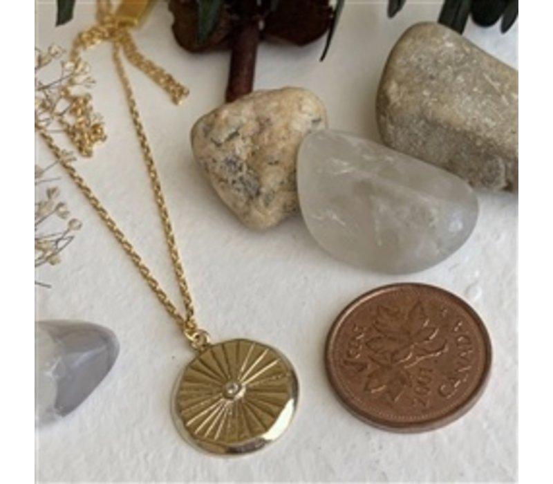 Atum Round Charm With Rhinestone Necklace