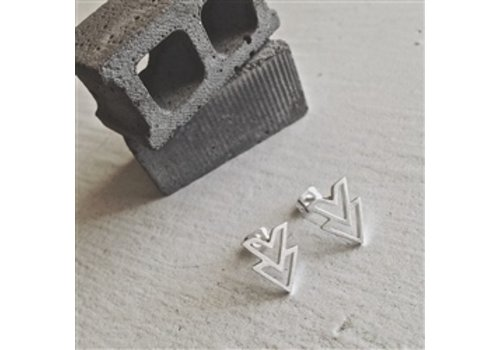 Pika & Bear Ike Stainless Steel Double V Chevron Earrings
