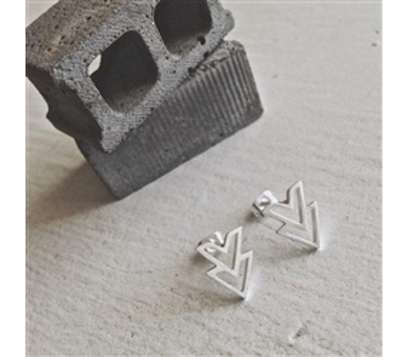 Ike Stainless Steel Double V Chevron Earrings