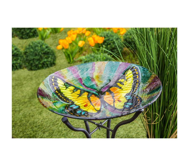 """Butterfly Hand Painted Glass Bird Bath with Oil Paint Finish 18"""""""