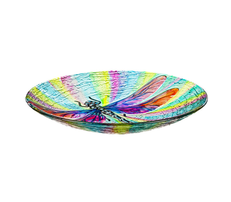 Dragonfly Hand Painted Glass Bird Bath with Oil Paint Finish 18""