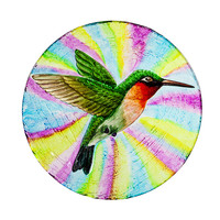 "Hummingbird Hand Painted Glass Bird Bath with Oil Paint Finish 18"""