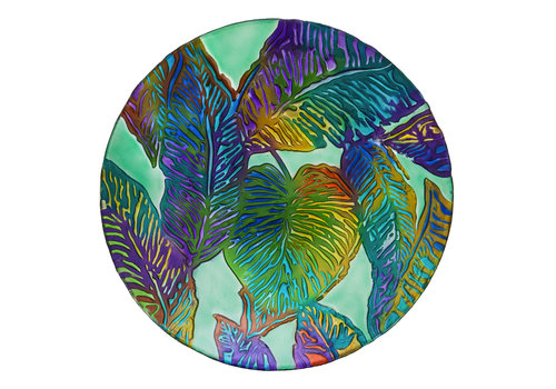 """Tropical Palm Leaves Hand Painted Embossed Glass Bird Bath 18"""""""