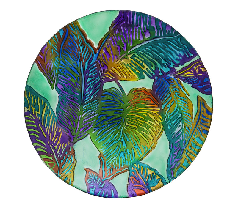 Tropical Palm Leaves Hand Painted Embossed Glass Bird Bath 18""