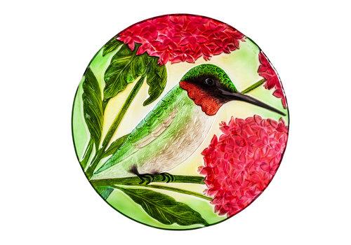 "Hummingbird Hand Painted Embossed Glass Bird Bath 18"""