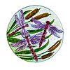 """Dragonfly Hand Painted Bird Bath with Crushed Glass 18"""""""