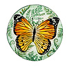 """Monarch Green Hand Painted Bird Bath with Crushed Glass 18"""""""