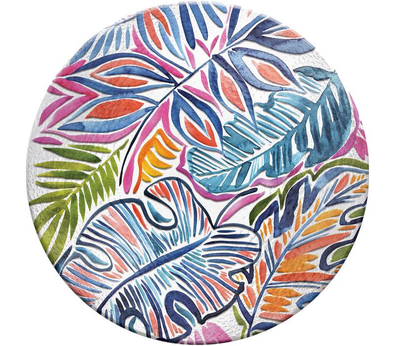 "Botanical Brights Hand Painted Embossed Glass Bird Bath 18"""